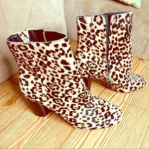 Sam edelman leopard Calf-hair block heel boots 9M